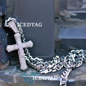 Other - Full Iced Out XL Cross Pendant, Cuban Chain Set